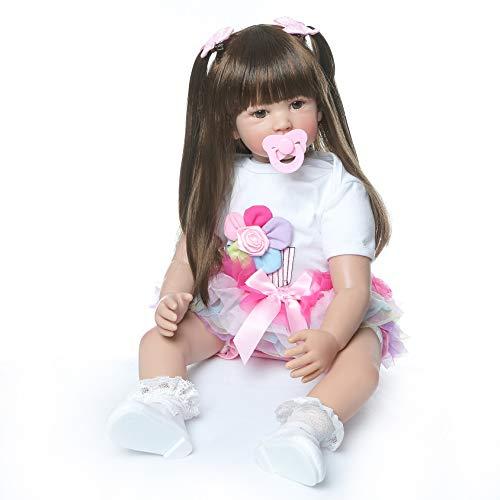 iCradle Reborn Dolls Realistisch Aussehende 24 Zoll 60 cm Wiedergeborene Babypuppen Weiche Silikonpuppen Lebensechte Prinzessin Mädchen Kleinkind Puppe Spielzeug (Item 6)