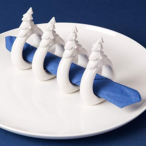 Widdop Sannys 4 teiliges Set Keramik Serviettenringe Weihnachten - Elch, Geschenke, Weihnachtsbaum & Nikolaus'