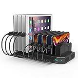 Alxum 10 multipla Porte Stazione di Ricarica 60W con Una porta di quick charge 3.0 da 18 W, Caricatore Multiplo Smartphone con divisori staccabili, Nero