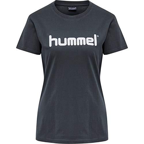 hummel Go Cotton Logo - Camiseta para Mujer (Talla S/S), Mujer, Camiseta, 203518, Gris, Small