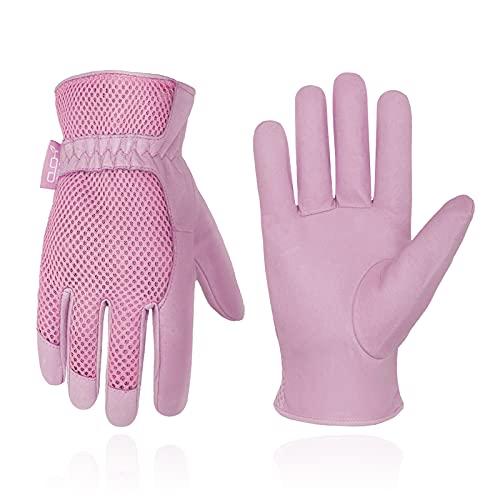 HANDLANDY Damen Gartenhandschuhe von Schweinsleder mit 3D-Netzstoff Design,Kratzfestige Handschuhe für Garten und Allgemeine Arbeit,Rosa