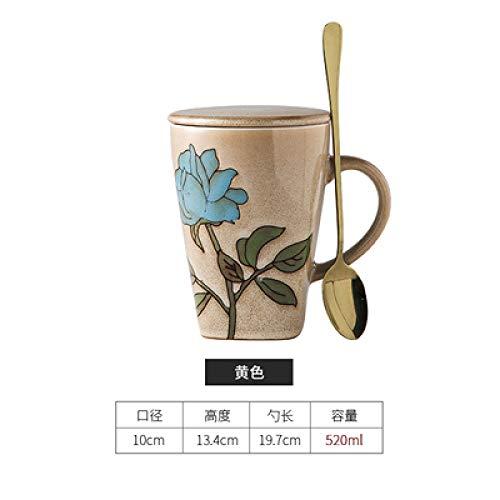 HRDZ Taza Simplicidad Creativa Taza de Gran Capacidad cerámica con Tapa Cuchara Personalidad Pareja Taza hogar