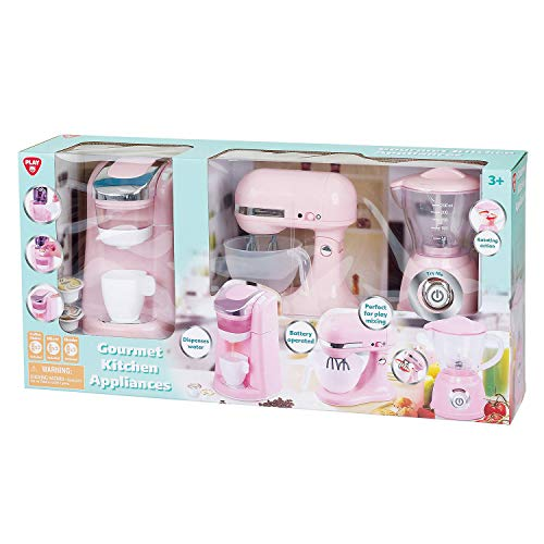 Kitchen Appliances GOURMET Child Size (Pink & Off White) w BATTERY Operated COFFEE...