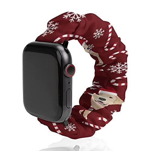 The Yard Dog Christmas - Fascia da polso da uomo e donna, compatibile con Apple Watch, 42 mm/44 mm, morbido cinturino elastico di ricambio per iWatch Series SE 6/5/4/3/2/1, giallo Lab Dog