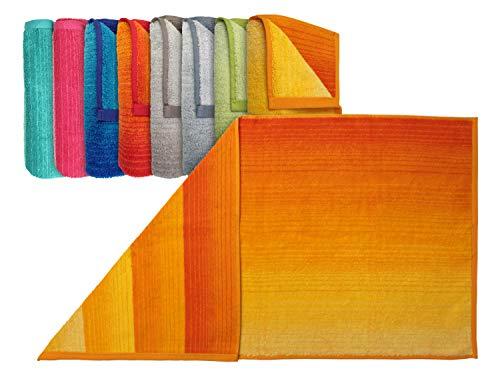 """Dyckhoff Bio-Handtuchserie """"Colori"""" - erhältlich in 8 brillanten Farbkombinationen und 3 verschiedenen Größen – hochwertig verarbeitet und mit praktischem Kordelaufhänger, Handtuch 50 x 100 cm, gelb"""