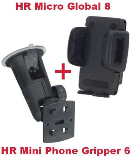 HR Richter Universal Handy Smartphone PDA KFZ Halter Halterung Car Holder Mini Phone Gripper 6 1245/46 und Micro Global 8 Turmsauger für Mobistel Cynus E4 E7 F10 Motorola Moto C E4 G5 G5s X4 Z2