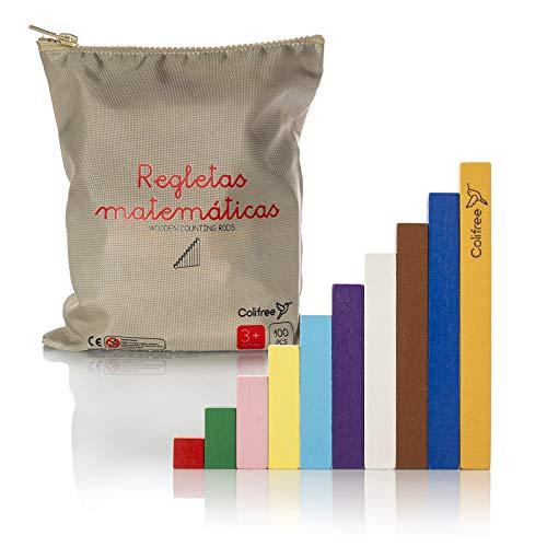 Colifree - Regletas matematicas de Madera en Bolsa, Colores Montessori, Educativo