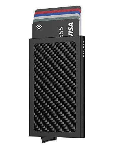 VULKIT Porte Carte de Credit Texture en Carbone Fiber Homme Automatique Pop Up Porte Cartes Bancaires RFID Anti Piratage Noir