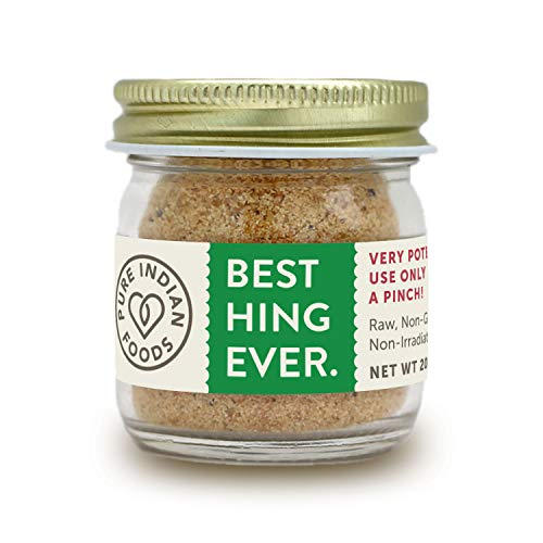 Pure Indian Foods Best Hing Ever (Asafoetida Powder), 20g Glass Bottle - Green Label - Indian Spice for Garlic & Onion Substitute, Non-GMO, Non-Irradiated, Whole30 Approved