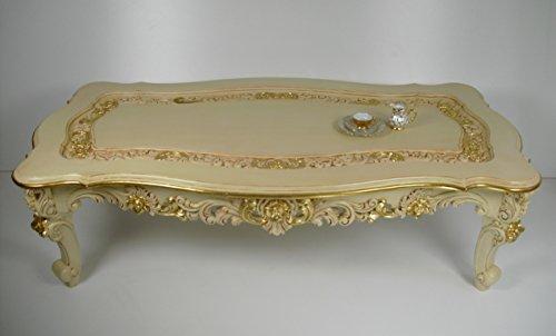 handmade Couchtisch, Sofatisch, Exclusiv und sehr prachtvoll Art Chippendale in cremefarben/Goldblatt mit vielen Ornamenten.