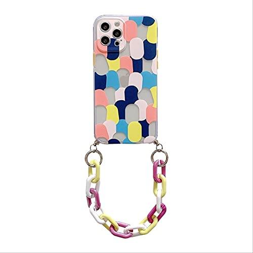 Colorido Graffiti Phone Case Pulsera Cuerda de cordón para Coque iPhone 12 Mini 11 Pro MAX 12Pro XS XR 6 7 8 Plus X Contraportada de Cadena para iPhone 8 Azul Amarillo