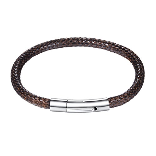 PROSTEEL Wrap Bracelet for Men Brown Leather Braided Wristband Bangles Gift Brown