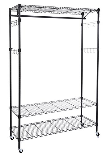 Modrine Free Standing Closet, 3 Tiers Wire Shelving Clothing Rolling Rack, with Lockable Wheels, 4 Side Hooks and 1 Clothes Rod (Black)