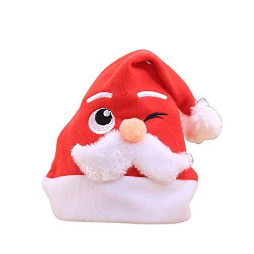 Ogquaton Sombrero de Papá Noel para adultos y niños tipo festival, decoración de Navidad, máquina de regalo, bordado, barba blanca, gorro de Navidad, para niños, resistente y rentable