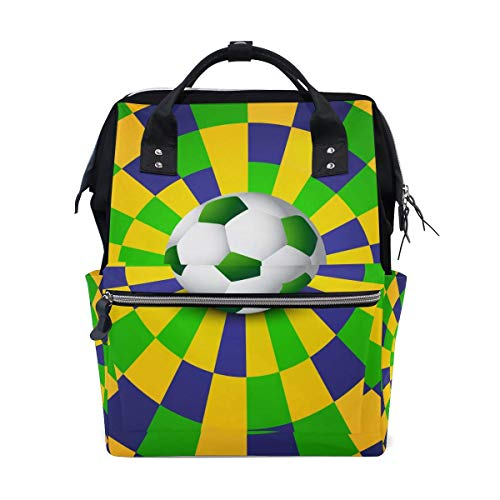 NHJYU Colorful Football Soccer Travel Sac à dos Large Nappy Sac à langer Laptop Sac à doss for Women Men