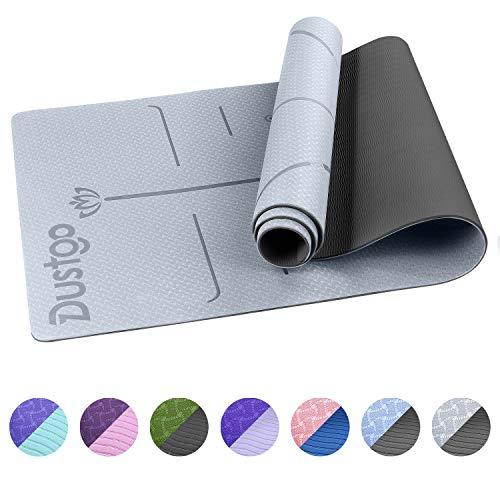 Dustgo Tapis de Yoga TPE,Tapis Yoga Antidérapant et Durable, 183x61x0.6 cm, avec Un Sangle et Un Sac à Dos, Tapis Fitness Sport