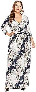 Extaum Women Plus Size Long Dress V Neck Three Quarter Sleeve Bandage Slim Elegant Holiday Maxi Dress White/Purple/Dark Blue