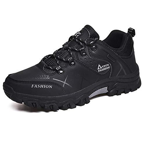 NEOKER Wanderschuhe Trekking Schuhe Herren Damen Sports Outdoor Hiking Sneaker Armee Grün Blau Schwarz Grau 36-48 Schwarz 42