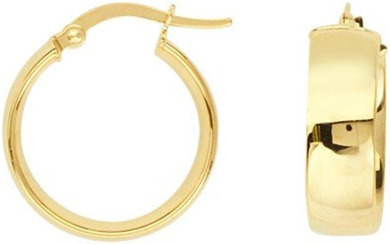 14ct Gelb Gold breit Tube Design Hochglanz Ohrringe 15mm