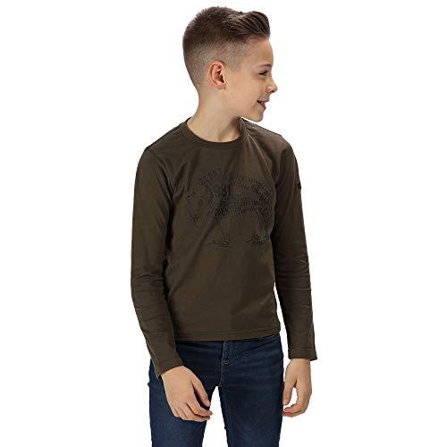 Regatta Unisex Kinder 'Wendell' Baumwoll-Langarm-T-Shirts/Polos/Westen L Dunkles kaki