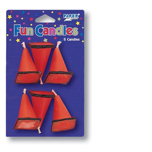 Creative Converting 6-Count Molded Candles, Cone-Shaped Under Construction -