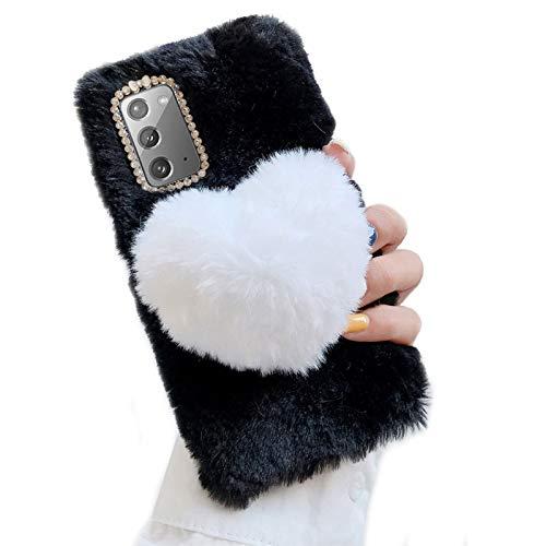 Jorisa Weich Plüsch Hülle für Huawei P30 Pro,Niedlich Kaninchen Pelz Flauschige 3D Liebe Herz Winter Warm Mädchen Frauen Handyhülle Süß Hasenhaar Glitzer Diamant Silikon Hülle,Schwarz + Weiß