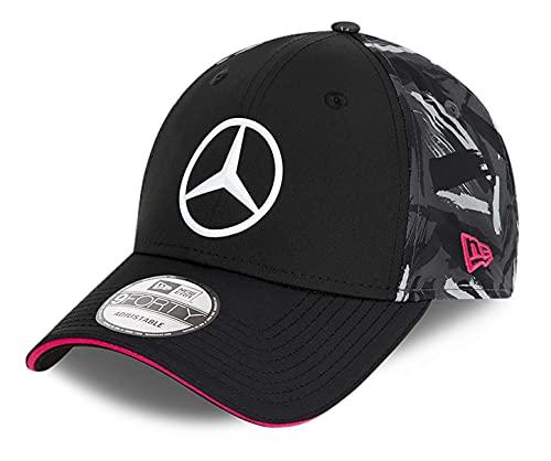 New Era - Gorra réplica de Mercedes eSports AOP Rear 9Forty Strapback Cap - Negro, Negro , Talla única