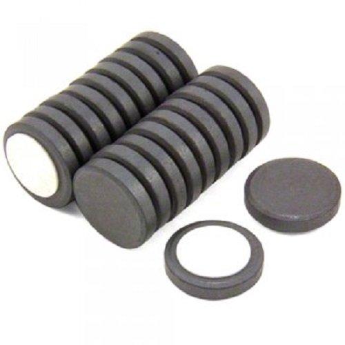 First4magnets F313FA-20 25 mm diameter x 5 mm dikke Y10 ferrietmagneet met zelfklevende schuimrubberen pad - 0,6 kg trekken (verpakking van 20), zilver, 25 x 10 x 3 cm