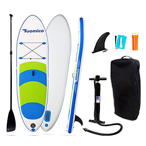 Sup Inflatable Paddle Board Double-Layer Inflatable Standing Paddle Board Blue Free Premium SUP Accessories & Backpack, Air Pump, Plug-in Fin, Repair Tool, Paddle