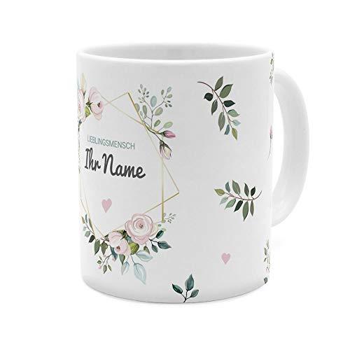 printplanet - Tasse mit Namen personalisiert - Motiv: Floral - individuell gestalten - Farbvariante Weiß