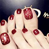 press on toenails - Drecode Fashion Glossy Fake Toenails Red Foot Fake Nail Glitter Full Cover Aryclic Square Daily Party Date Clip Press on Toe Nails for Women and Girls(24Pcs)