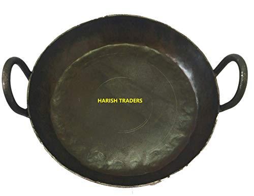 HARISH - Traditional Pure Iron Made - Flat Iron KADAI (Induction Compatible) / Fry PAN Original LOHA Iron / 10 INCH Diameter