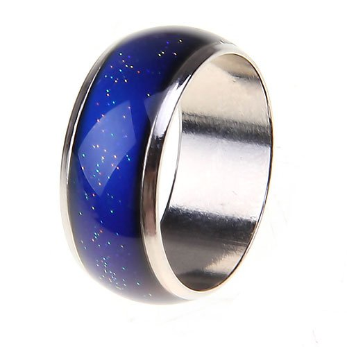 gazechimp 3pcs Simples Multi Cor Mudança Cristal Pedra Liga De Metal Anéis De Humor