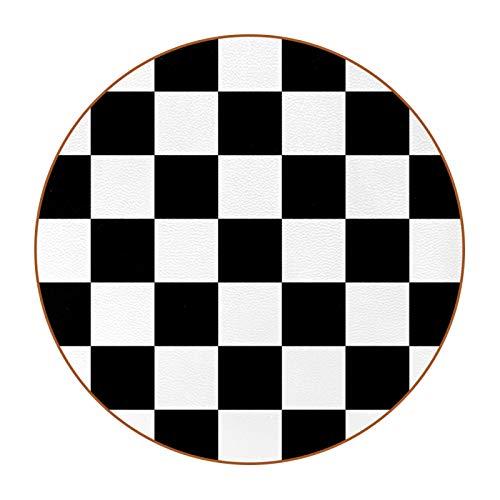 Untersetzer, rund, 6 Stück, für Zuhause, Küche, schönes Geschenk, schwarz-weißes Gitter