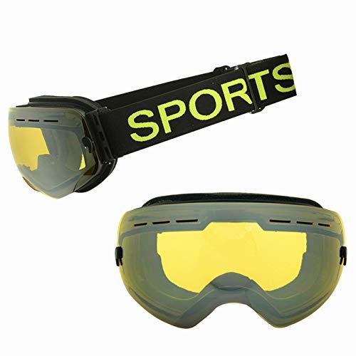 YUXINXIN Anti-mist en zanddichte mannen en vrouwen volwassen bergbeklimmen sneeuwbril grote bolvormige spiegel Coke bijziendheid bril skibrillen* Geel