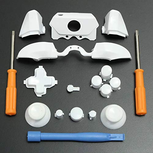 C-FUNN Bumper Triggers Knoppen Vervanging Volledige Set D-pad LB RB LT RT Knoppen T8H T6 Gereedschap Voor Xbox One Elite Game Controller, Kleur: wit