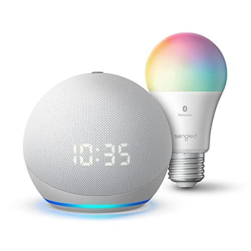 Echo Dot (4.ª generación)   Altavoz inteligente con reloj y Alexa   Blanco glaciar con bombilla de color Bluetooth Sengled
