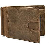 Luufan Men's Leather Slim Minimalist Engraved Money Wallet