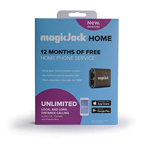 magicJackHome VoIP Phone Adapter | Portable Home & Digital Phone Service | Unlimited Local & Long Distance Calls to US and Canada | Includes 12 months of Service | Most Recent Model - Latest Version