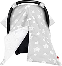 Moonsea Baby Carseat Canopy Nursing Cover, Car Seat Canopy for Girls or Boys, Cute Star Print Infant Car Seat Canopy with Soft Minky Fabric Back, for Breastfeeding Moms Baby Shower Gift
