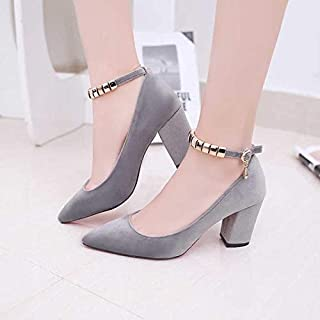 Exquisite Spring Autumn Women Pumps Sexy Buckles High Heels Shoes Fashion Pointed Toe Wedding Party Square Heel String Bead (Color : Gray, Shoe Size : 40)