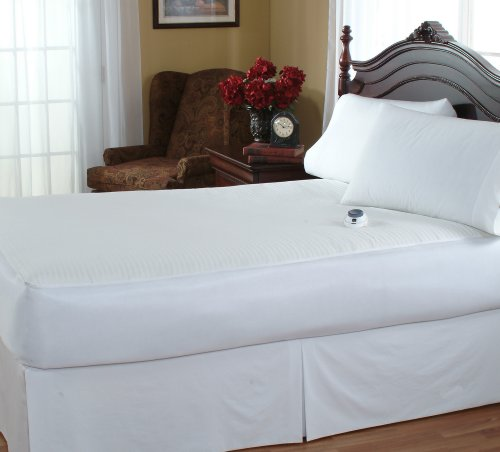 Serta   Damask Stripe 233-Thread Count Low-Voltage Electric Heated Mattress Pad (Queen)