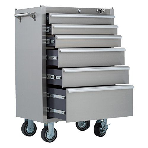 Big Sale Best Cheap Deals Viper Tool Storage V2606SSR 26-Inch 6-Drawer 304 Stainless Steel Rolling Cabinet