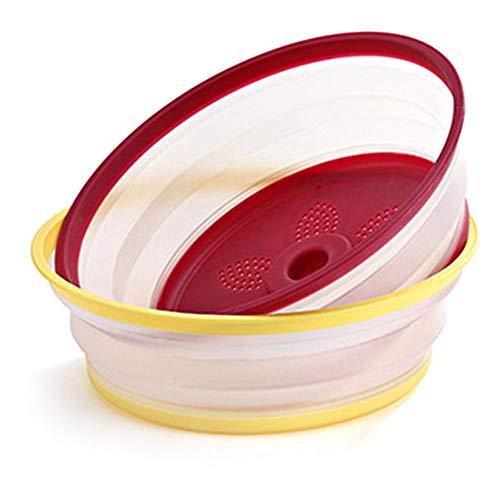 Gresunny tapa microondas plegable plástico cubierta para plato de microondas funda para microondas con salidas de vapor tapa antisalpicaduras cesta de drenaje de frutas y verduras Amarillo & Rojo