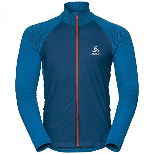 Odlo Herren Jacket Velocity Element Jacke, Blue Opal - Orangeade, XL