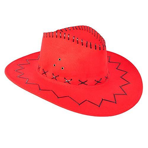 Sombrero de vaquero occidental de piel sintética sombrero de vaquero Western Cowgirl Australia Texas Cowboy Sombreros para adultos y niños rojo 1 pieza conveniente y práctico