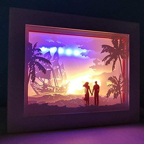 GEZHF Caja de sombra 3D LED Papercut cajas de luz decorativa lámpara de noche alimentada por USB, regalo de cumpleaños para niños y adultos (color: estilo 1)-estilo 7