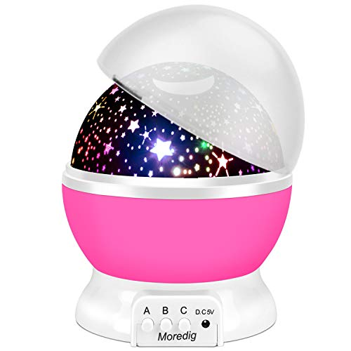 Moredig Star Night Light Projector, LED Projection Lamp 360 Degree Rotation Star Moon Sky Projector for Baby, Kids, Birthday, Christmas - Pink