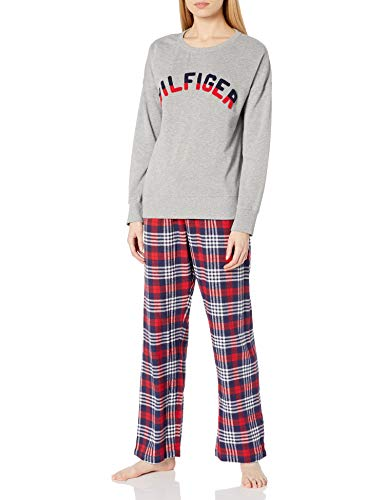 Tommy Hilfiger Women's Long Sleeve Top with Flannel Pant Bottom Pajama Set Pj, Heather Grey/Chelsea Plaid, M