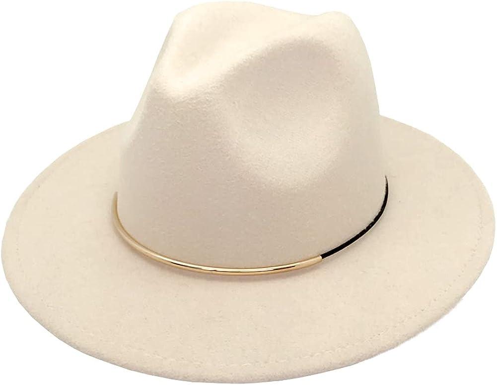HUDANHUWEI Womens Fedora Hats with Belt Buckle Wide Brim Panama Fedora Cap
